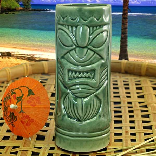 Green Tiki Mug Ceramic