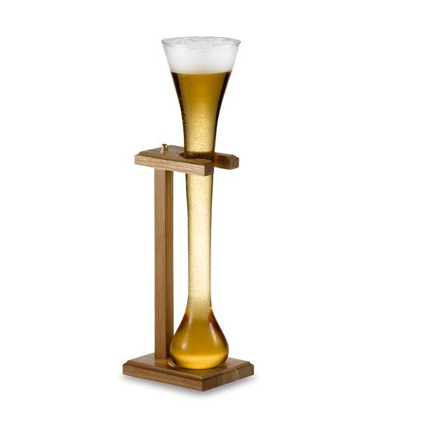 Half Yard Beer Glass with Wood Stand